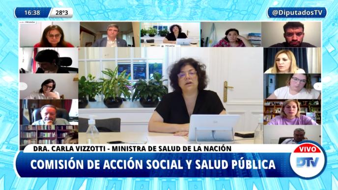 Vizzotti en Diputados relatando la campaña de vacunación impulsada por Nación.