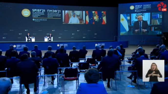 Fernández participó en la sesión plenaria del Foro Económico de San Petersburgo 2021