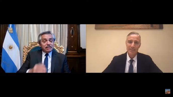 Videoconferencia entre el presidente Alberto Fernández y el presidente de Laboratorios Richmond, Marcelo Figueiras